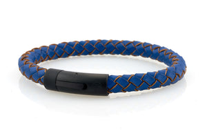 neptn men's bracelet sailor trident black ocean blue leather 8mm