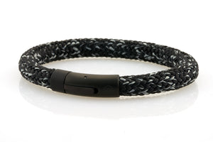 neptn men's bracelet sailor trident black salt pepper rope 8mm