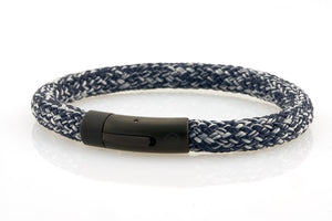 neptn men's bracelet sailor trident black denim blue rope 8mm