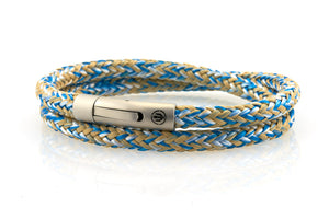 neptn men's bracelet sailor trident steel ocean white sand rope double 6mm