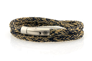 neptn men's bracelet sailor trident steel navy sand rope double 6mm