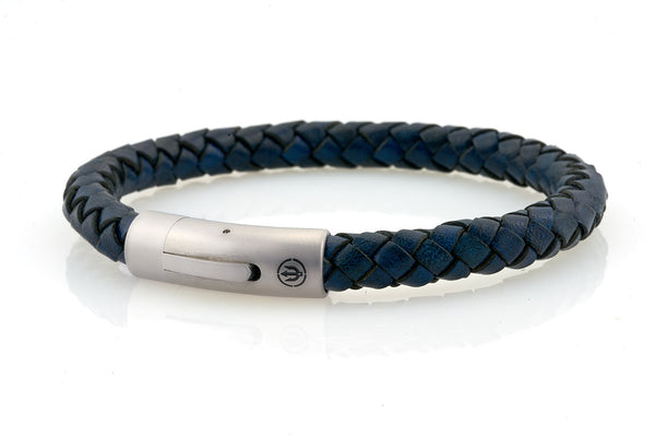 neptn men's bracelet sailor trident steel denim blue leather 8mm