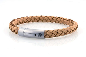 neptn men's bracelet sailor trident steel natural leather 8mm