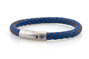 neptn men's bracelet sailor trident steel ocean blue leather 8mm