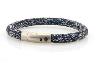 neptn men's bracelet sailor trident steel denimblue rope 8mm