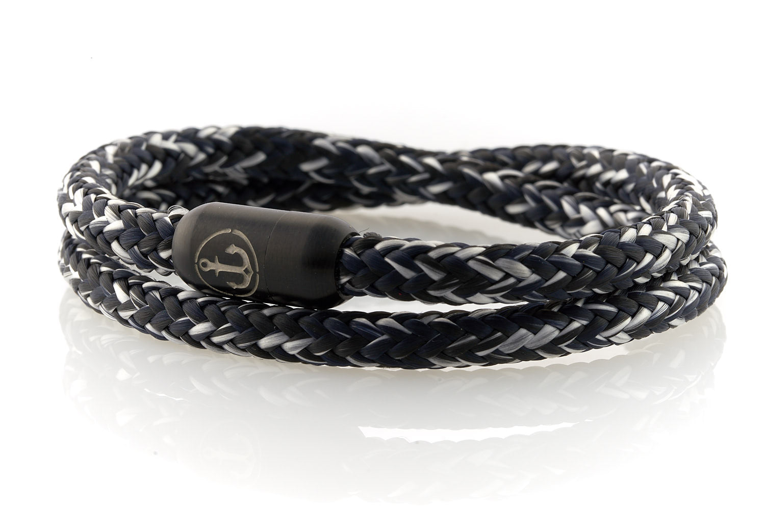 Double black and white rope bracelet for men with black stainless steel clasp with anchor engraving