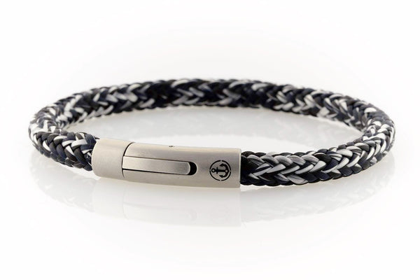 neptn men's bracelet sailor anchor steel salt pepper rope. nautical bracelet. maritime design.