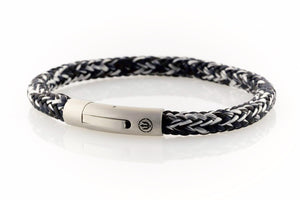 neptn men's bracelet sailor trident steel salt pepper rope 6mm