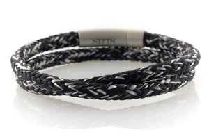 neptn men's bracelet sailor trident steel salt pepper rope double 6mm