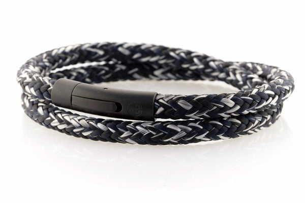 neptn men's bracelet sailor double anchor black salt & pepper rope. nautical bracelet. maritime design.