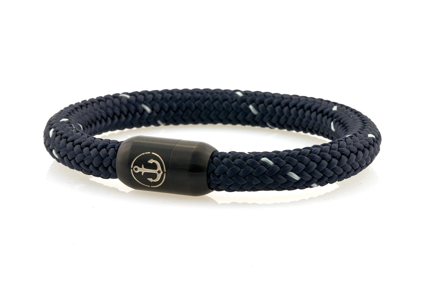 Thick navy blue rope bracelet with white details and black stainless steel clasp with anchor engraving - NEPTN