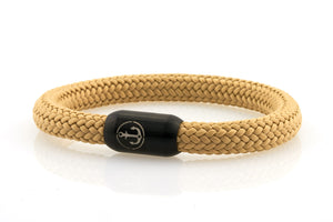Thick beige rope bracelet for men with black stainless steel clasp with anchor engraving - NEPTN
