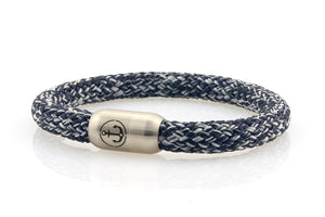 navy and white rope bracelet for men with stainless steel magnetic clasp with anchor engraving