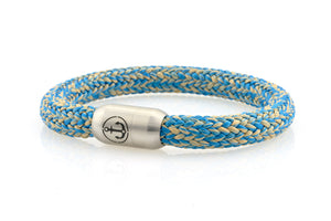 light blue and beige rope bracelet for men with stainless steel magnetic clasp with anchor engraving