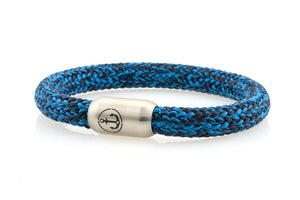 royal blue and dark navy rope bracelet for men with stainless steel magnetic clasp with anchor engraving
