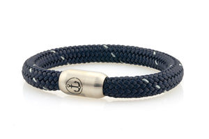 dark navy with one white thread rope bracelet for men with stainless steel magnetic clasp with anchor engraving