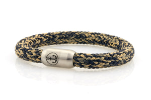 navy and beige rope bracelet for men with stainless steel magnetic clasp with anchor engraving