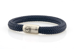 dark navy rope bracelet for men with stainless steel magnetic clasp with anchor engraving