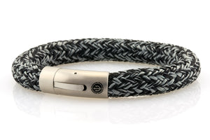 neptn men's bracelet sailor trident steel black denim rope 10mm