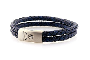 Maritime design. Mens leather bracelets by NEPTN. Steel magnetic clasp with Anchor engraving