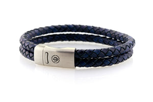 Maritime design. Mens nautical leather bracelets by NEPTN. Magnetic clasp with trident engraving