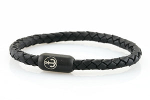 Braided black leather bracelet for men with black stainless steel clasp with anchor engraving - NEPTN