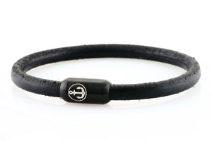 Solid Black leather bracelet for men with black stainless steel clasp with anchor engraving - NEPTN