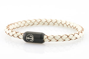 Braided white leather bracelet for men with black stainless steel clasp with anchor engraving - NEPTN