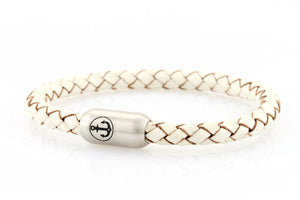 white leather bracelet for men with stainless steel clasp with anchor engraving