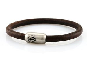 dark brown leather bracelet for men with stainless steel clasp with anchor engraving