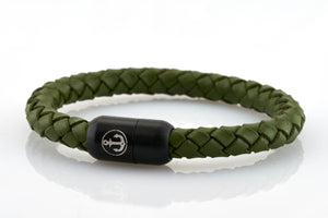bracelet-man-Boatswain-8-Neptn-Leather-anchor-laurel-green
