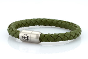 olive green leather bracelet for men with stainless steel magnetic clasp with anchor engraving