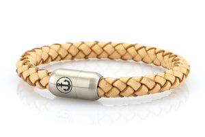 light beige leather bracelet for men with stainless steel magnetic clasp with anchor engraving