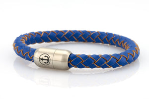 blue leather bracelet for men with stainless steel clasp with anchor engraving
