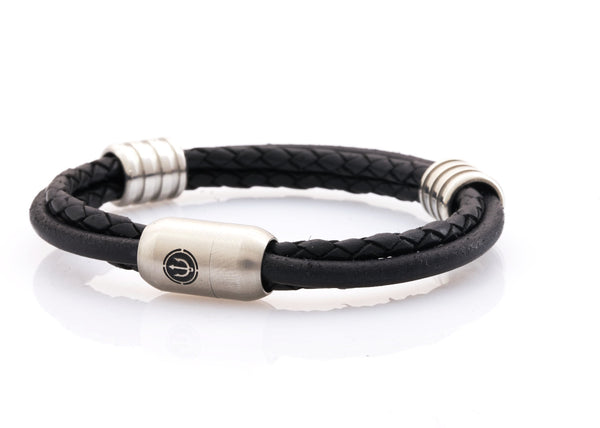 CAPTN Trident Steel 8 Ring three cord leather bracelet man Black-Leather