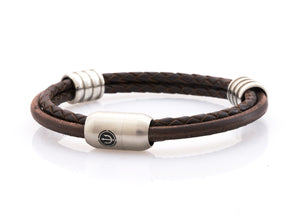 CAPTN Trident Steel 8 Ring three cord leather bracelet man Brown Leather
