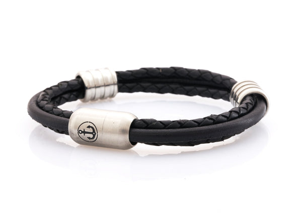 Neptn-Bracelet-Man-Captn-Anchor-Steel-8-Black-Leather