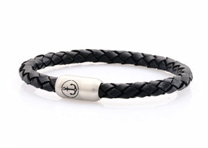 black leather bracelet for men with stainless steel clasp with anchor engraving