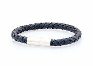 neptn men's bracelet navigator trident 7mm denim blue leather. nautical bracelet. maritime design.