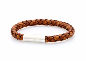 neptn men's bracelet navigator trident 7mm classic brown leather. nautical bracelet. maritime design.