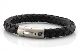 neptn men's bracelet sailor trident steel black leather 10mm