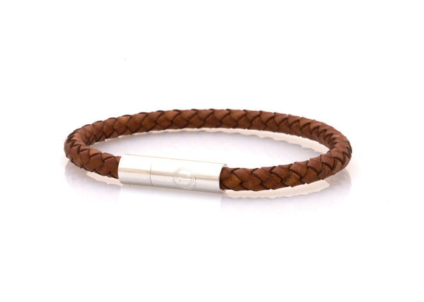 neptn women bracelet DIANA Trident Rhodium 5 classic brown leather