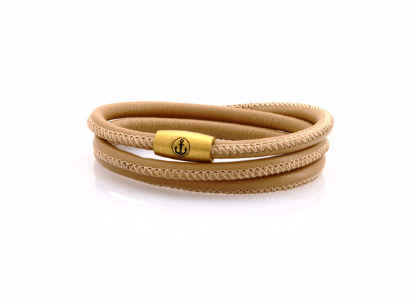 neptn women bracelet JUNO Anchor Gold Triple 4 cappuccino nappa leather