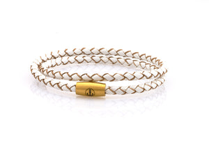 neptn women bracelet JUNO Anchor Gold double 4 white leather