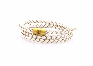 neptn women bracelet JUNO Anchor Gold Triple 4 white leather
