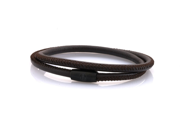 neptn women bracelet JUNO Anchor black double 4 brown napa leather