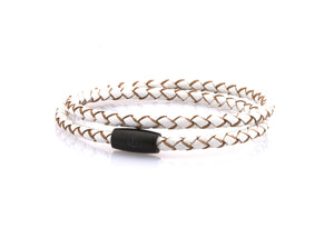 neptn women bracelet JUNO Anchor black double 4 white leather