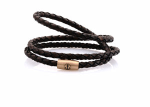 neptn women bracelet JUNO Anchor Rosegold Triple 4 dark brown leather