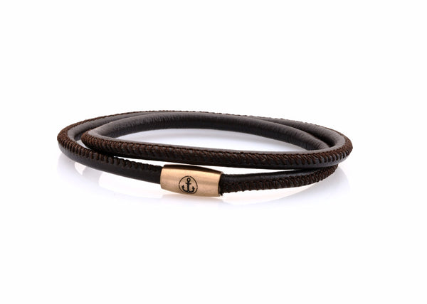 neptn women bracelet JUNO Anchor Rosegold double 4 brown nappa leather