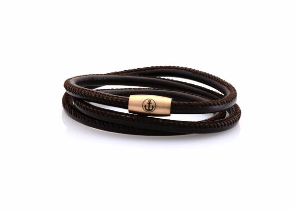 neptn women bracelet JUNO Anchor Rosegold Triple 4 brown nappa leather